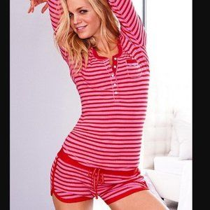 VICTORIA'S SECRET Red Pink Striped Pajama Romper